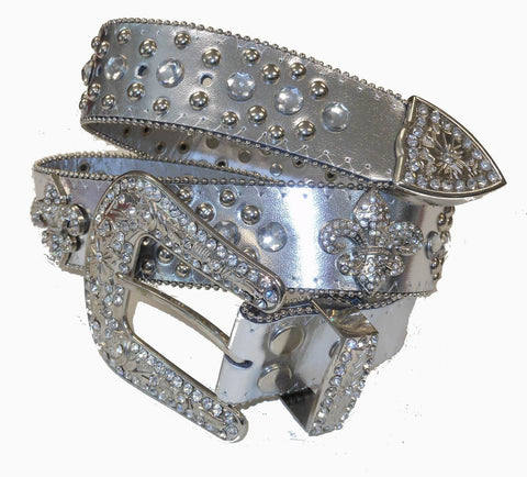 Silver belt wholesale Western Fleur De Lis Cowgirl Bling Rhinestone Belt Wholesale 50124SV