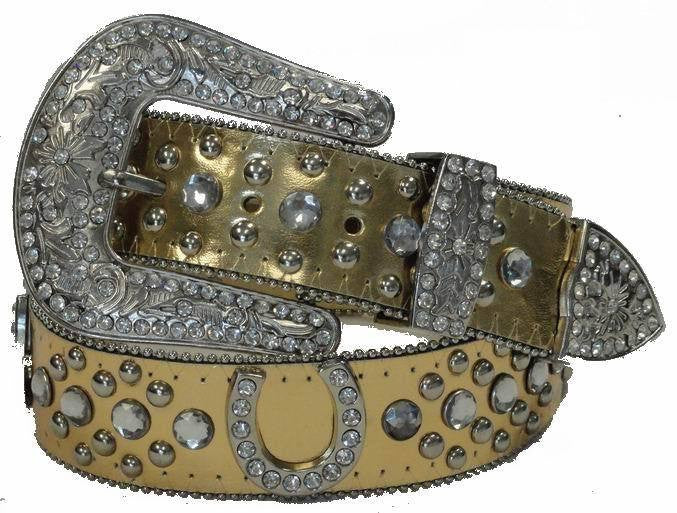 Wholesale Rhinestone Western Cowgirl Bling Bling Horse Shoe Belt Gold Color 50125GD