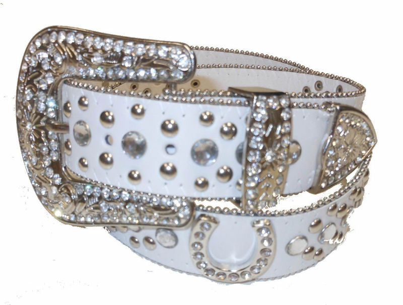 Wholesale Western Rhinestone cowgirl belt  Lucy Horse Shoe Belt 50125WH