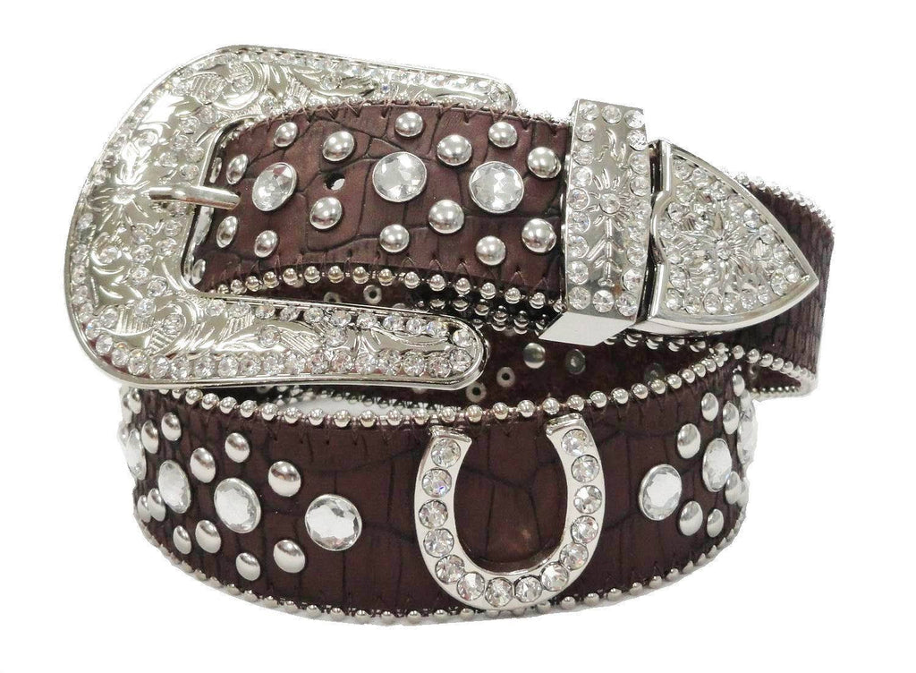 Wholesale Rhinestone Western LUKY HORSE SHOE Belt  Brown color 50125BN