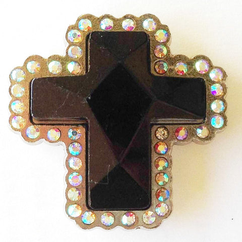 Wholesale Western prism cut JET BLACK Cross Conchos 2 pcs CH132BK