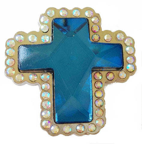 6 Pieces Western prism cut BLUE Cross Conchos CH132BL