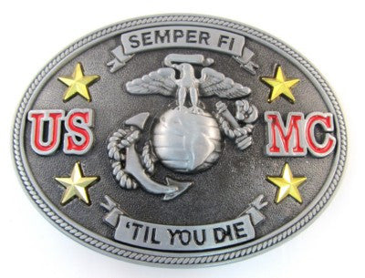 Wholesale Semper Fi US Marine Corps Belt Buckle - Till You Die Belt Buckle  1190