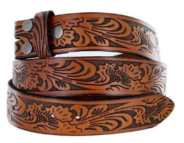 Wholesale Flora Embossed Tooled Snap On Belt NC90