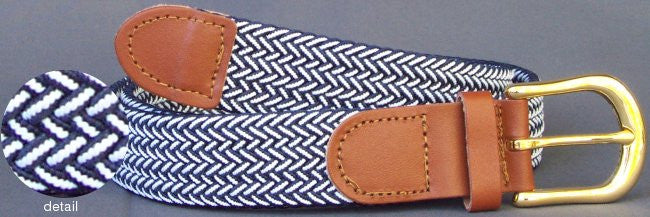 Wholesale Men's Elastic Braided Stretch Golf Belt Multi Navy White Color