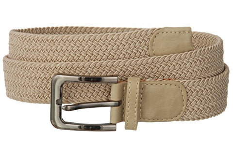 Big and Tall WIDE Elastic Stretch Belt Wholesale, Wholesale Men's Elastic Braided Stretch Golf Belt BEIGE Color 7001NLBG