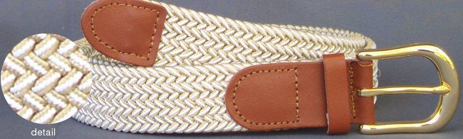 Wholesale Men's Elastic Braided Stretch Golf Belt Multi Beige White Color