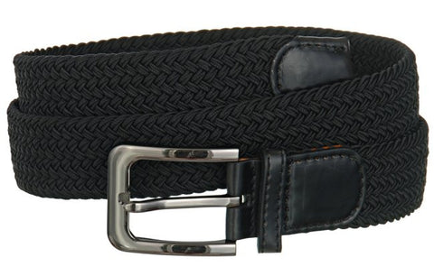 Big and Tall WIDE Elastic Stretch Belt Wholesale, Wholesale Men's Elastic Braided Stretch Golf Belt BLACK Color 7001NLBK