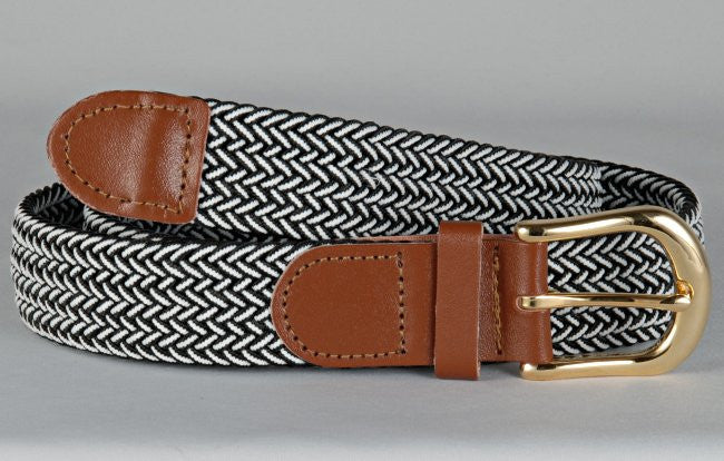 Wholesale Men's Elastic Braided Stretch Golf Belt Multi Black White Color