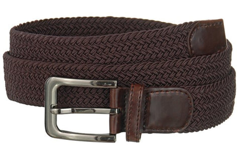 Big and Tall WIDE Elastic Stretch Belt Wholesale, Wholesale Men's Elastic Braided Stretch Golf Belt BROWN Color 7001NLBN