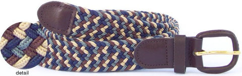 Wholesale Men's Elastic Braided Stretch Golf Belt Multi Grey Color 7004MGY