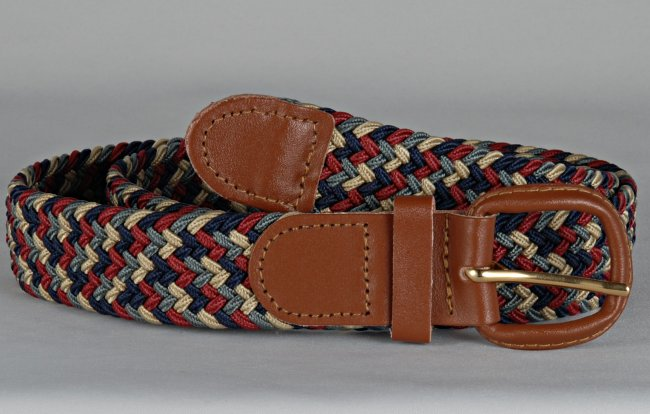 Wholesale Men's Elastic Braided Stretch Golf Belt Multi RED Color 7004MRD