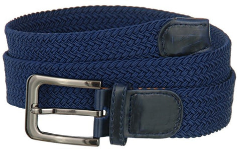 Big and Tall WIDE Elastic Stretch Belt Wholesale, Wholesale Men's Elastic Braided Stretch Golf Belt NAVY Color 7001NLNB