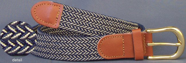 Wholesale Men's Elastic Braided Stretch Golf Belt Multi Navy Beige Color
