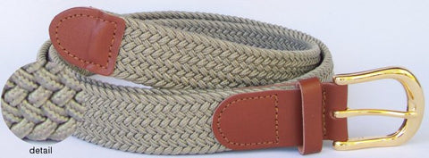 Wholesale Men's Elastic Braided Stretch Golf Belt KHAKI Belt 7001KH