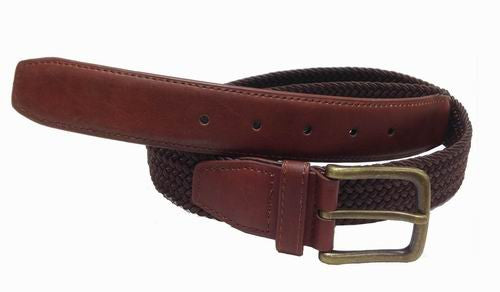 Wholesale Mens Elastic  Braided Golf Style Leather Stretch Cord Belt Brown 7800BN