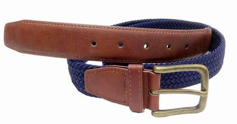 Wholesale Mens Elastic  Braided Golf Style Leather Stretch Cord Belt Navy Blue 7800NB