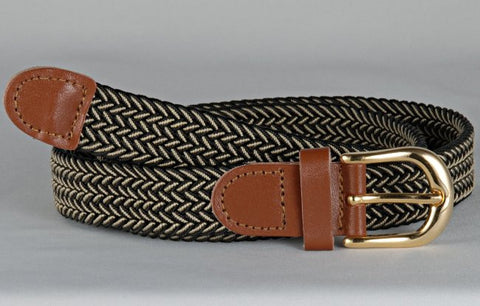Wholesale Lady's Elastic Braided Stretch Golf Belt Multi Color Black Beige 6020BKBG