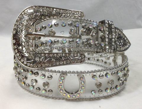 TRANSPARENT Western Horse Shoe Rhinestone Belt 50125C