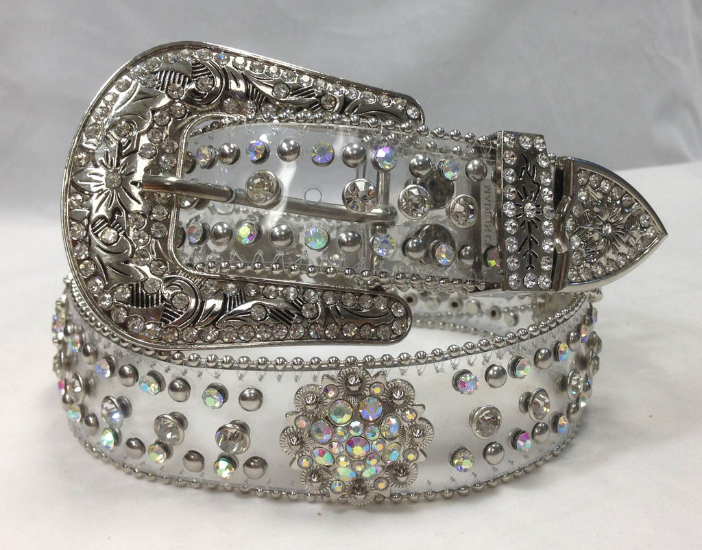 Wholesale transparent Cowgirl Western BERRY concho Rhinestone Belt 50128C