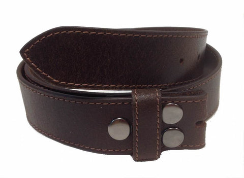 Wholesale Vintage Distressed Genuine Leathe Snap On Belt Strap Oily Brown NC57OBN