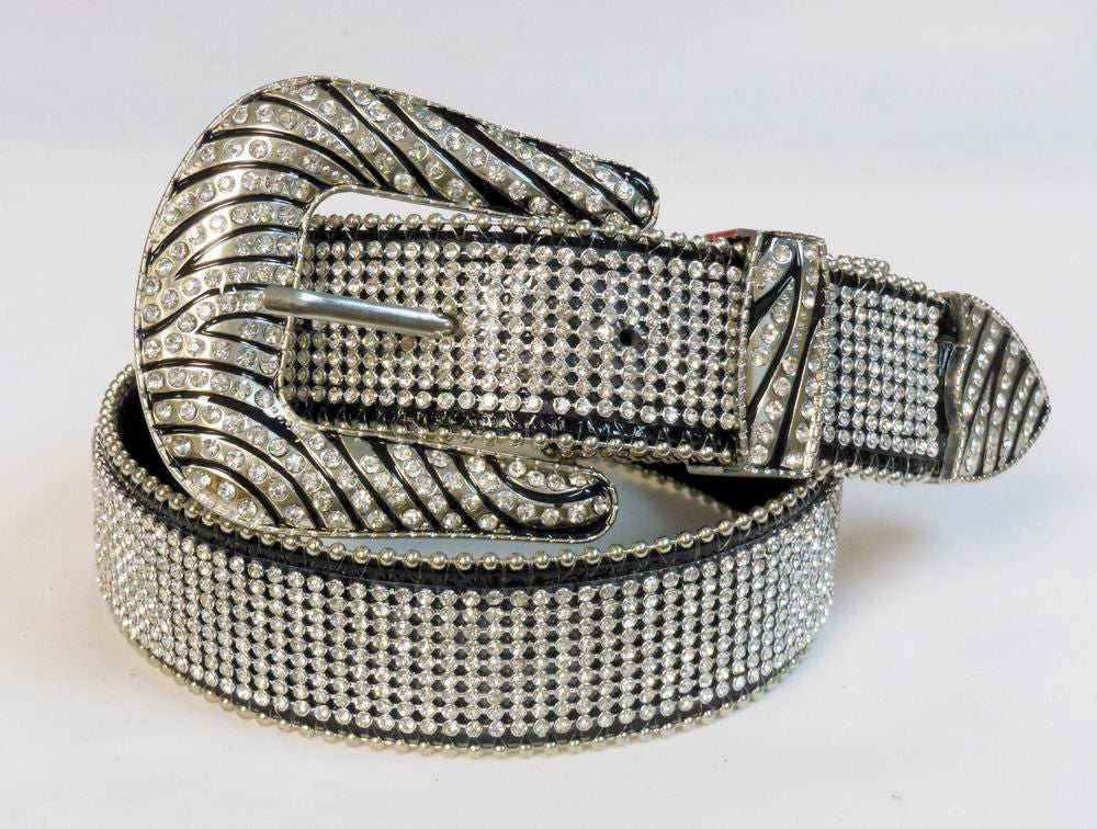 Western Cowgirl Zebra Buckle Rhinestone Mesh LEATHER Belt 50138