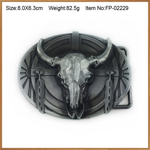 Wholesale longhorn bull cowboy belt buckle 1191