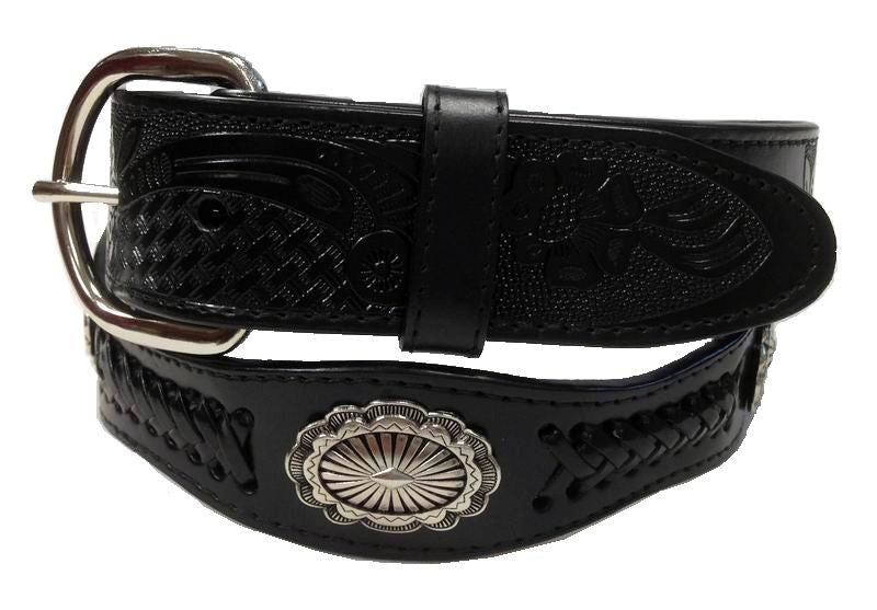 Wholesale Men's Belt, Western Genuine Leather belt wholesale Concho Cowboy Belt 4177BK