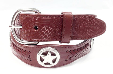 Wholesale Genuine cowboy western leather Texas ranger concho belt