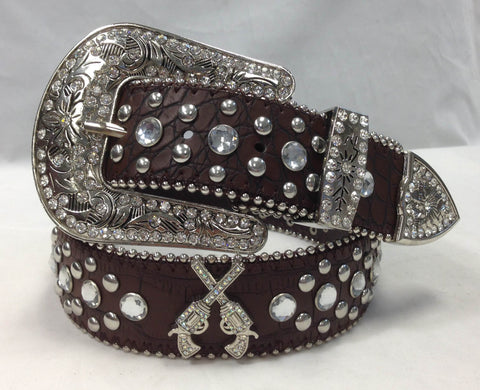 Brown Gun Western Rhinestone GUNS RANGER BELT 50165BN
