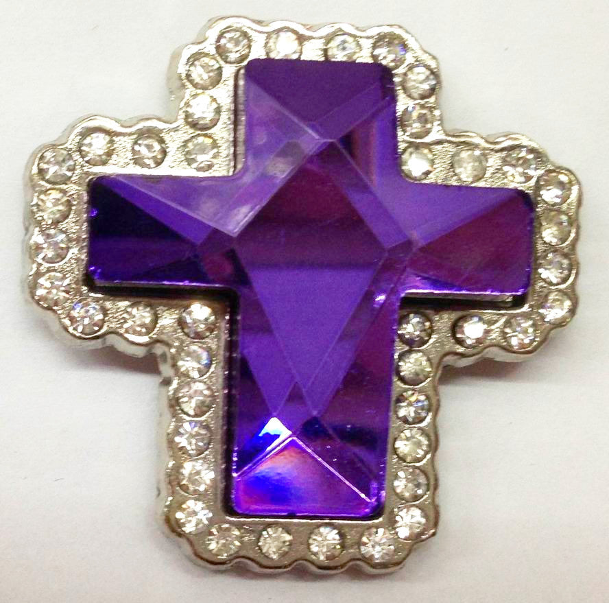 Wholesale Western prism cut Purple Cross Conchos 2 pcs CH132PU
