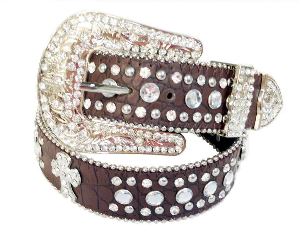 Western BROWN RHINESTONE Cowgirl CROSS  CONCHO Belts 50161BN