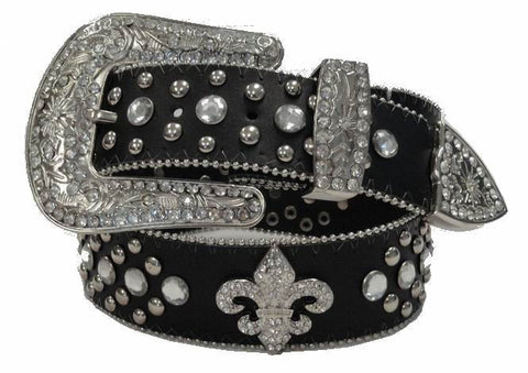 Pluse size wholesale Western Fleur De Lis Cowgirl Rhinestone Belt Wholesale BLACK COLOR 50124LBK