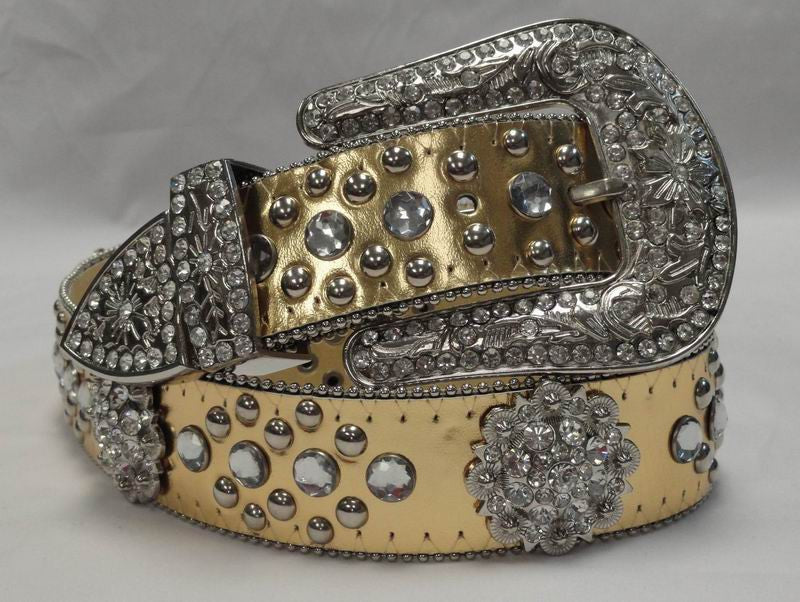 Wholesale Atlas Cowgirl Topaz Concho Rhinestone Belt 50128GD