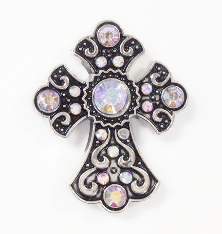 Wholesale Western Rhinestone AB clear Cross Conchos 6 pcs CH166AB