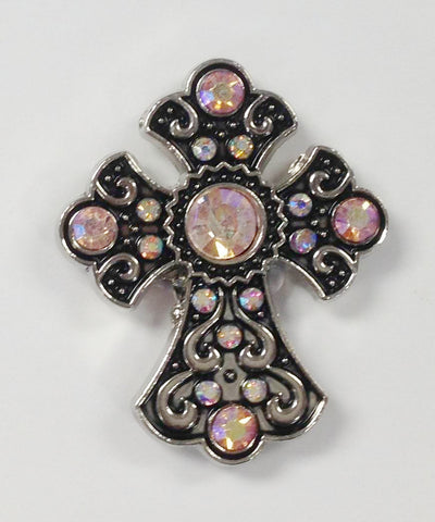 Western peach color Rhinestone Cross Conchos 6 pcs CH166PC