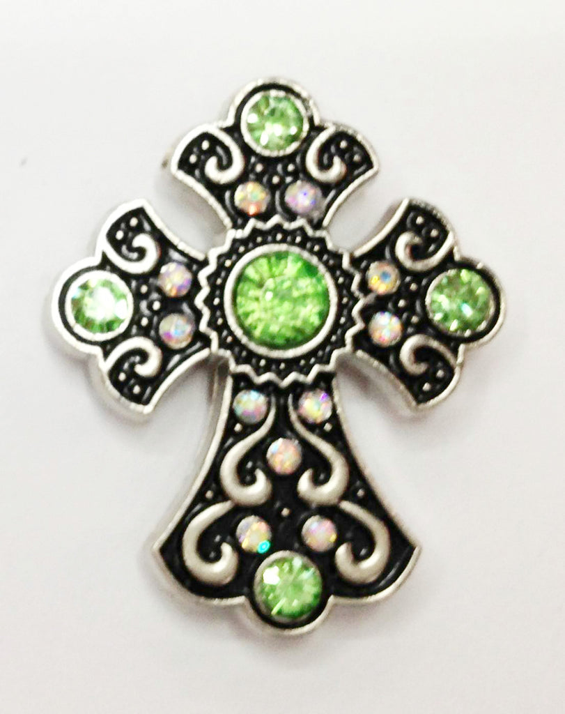 Wholesale Western Rodeo Cowgirl Rhinestone Cross Craft Conchos 6 pcs CH166GN