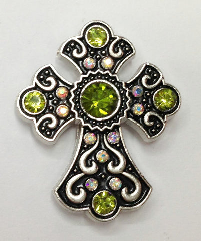 12 Pieces Western olive colorl Rhinestone Cross Conchos CH166OV