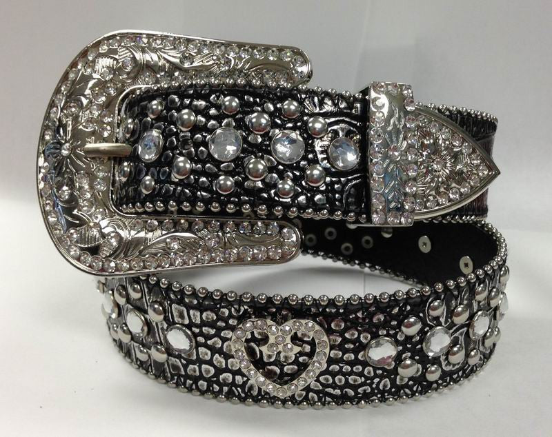 Western RHINESTONE Brighton HEART CONCHO Brown Belts 50145M