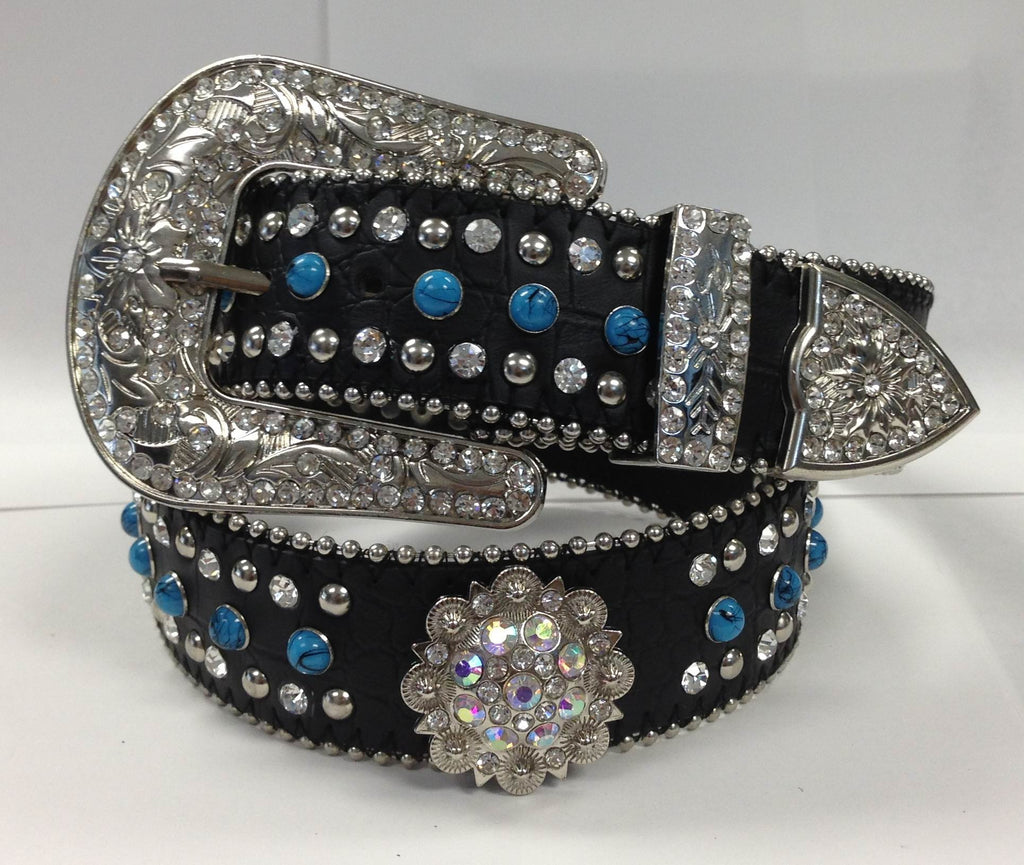 Western Turquoise Round Berry Concho Rhinestone cowgirl bling Belt Wholesale 50128TQ