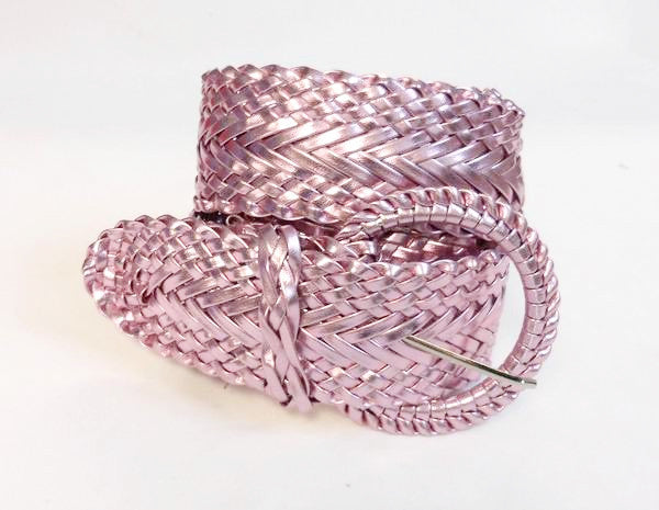 Wholesale Girl's Wide Braided Casual Belt Matalic Pink belt 3002MPK