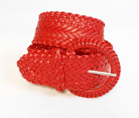 Wholesale Girl's Wide Braided Casual Belt Red belt 3002RD