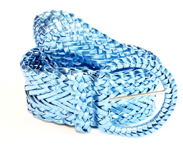 Wholesale Girl's Wide Braided Casual Belt Matalic BABY BLUE belt 3002MB