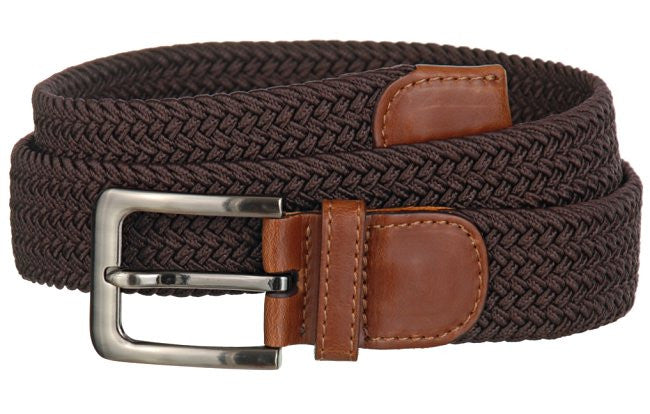 Big and Tall WIDE Elastic Stretch Belt Wholesale, Wholesale Men's Elastic Braided Stretch Golf Belt BROWN Color 7001GLBN