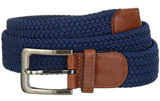 Big and Tall WIDE Elastic Stretch Belt Wholesale, Wholesale Men's Elastic Braided Stretch Golf Belt NAVY Color 7001GLNB