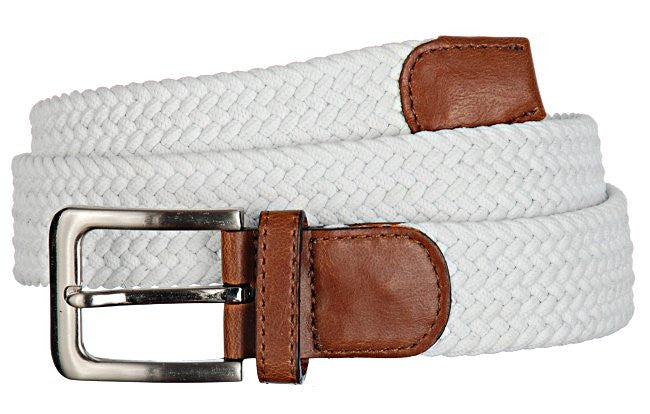 Big and Tall WIDE Elastic Stretch Belt Wholesale, Wholesale Men's Elastic Braided Stretch Golf Belt WHITE Color 7001GLWH