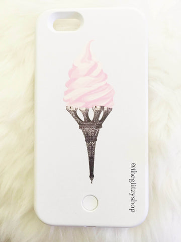"""Eiffel Cream"" LED Selfie Case-CLEARANCE - The Glitzy Shop"