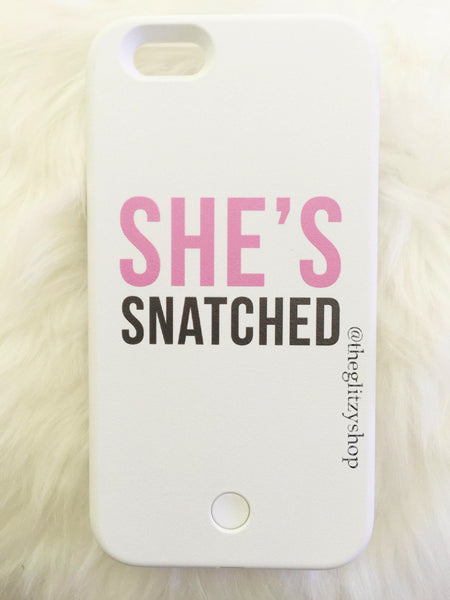 """She's Snatched"" LED selfie case-CLEARANCE - The Glitzy Shop"