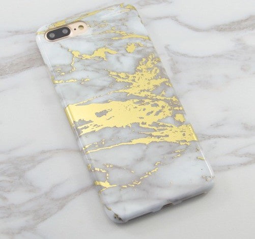 White Marble Chrome Case-Gold - The Glitzy Shop