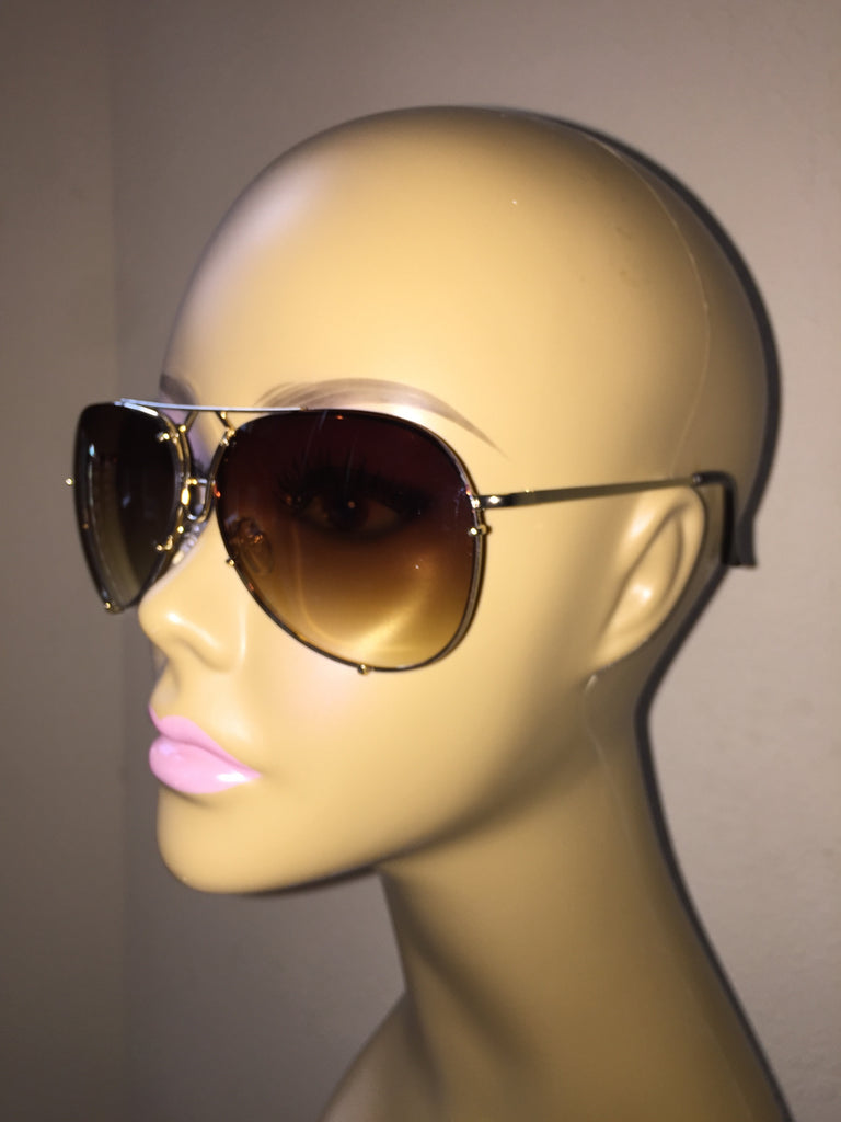 """Almost Famous"" Aviators Brown - The Glitzy Shop"